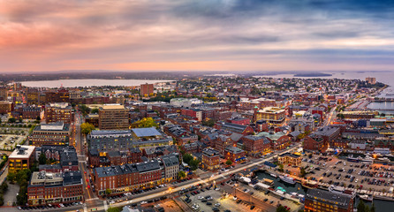 Fototapete - Aerial panorama of Portland, Maine at dusk