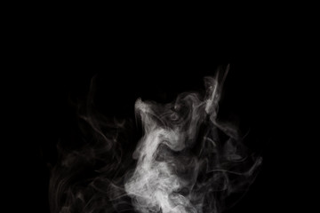 Abstract white smoke vertical line on black background