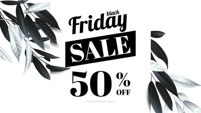 Botanical black friday sale banner template design, black and white leaves