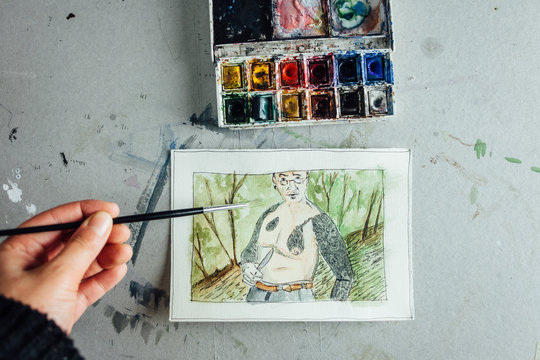 Watercolor portrait of a friend with a knife in nature