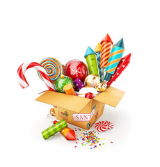 box full of christmas toys, candies and bright colorful fireworks rockets.