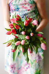 Large bunch of pink toned  tulips