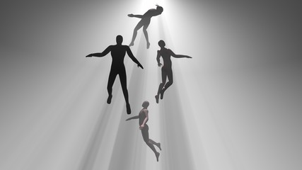 People floating, rising into light beams , heavens, space. Astral plane.Silhouette, shadow figure. 3d rendering