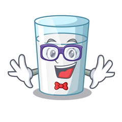 Geek protein rich milk in cartoon glass