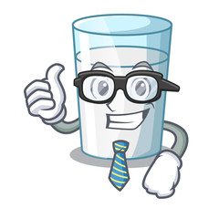 Businessman protein rich milk in cartoon glass