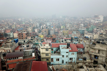 Kathmandu Valley on a foggy cold morning in winter.
