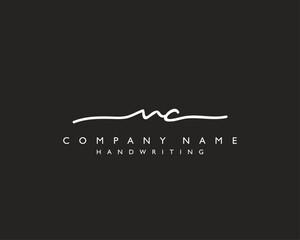 N C Initial handwriting logo