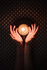 Round lamp on black pattern