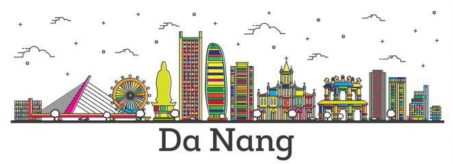 Outline Da Nang Vietnam City Skyline with Color Buildings Isolated on White.