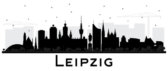Leipzig Germany City Skyline Silhouette with Black Buildings Isolated on White.