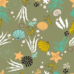 Sea seamless pattern. Underwater world, ocean corals, shells and seaweeds.
