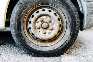 Close-Up of Jeep Tire on Street