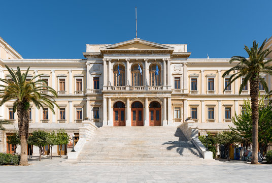 Syros capital of Cyclades Islands and the beautifull new Classic municipal building.Aegean sea,Greece