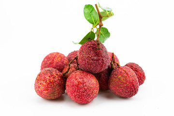 lychee fruit on white background