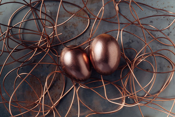 Two copper eggs in a wire nest