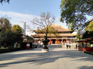 Chinese buddhist temple with traditional architecture. Xian, Shaanxi province, China.