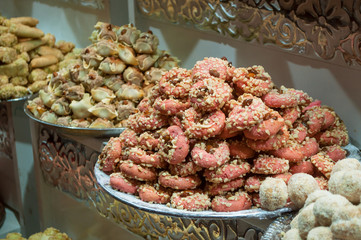 closeup of Moroccan cakes stack in the market