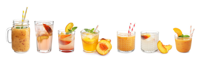 Set with different delicious peach drinks on white background
