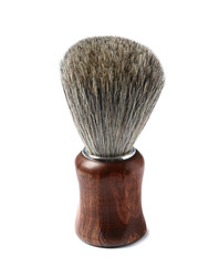 Shaving brush with wooden handle isolated on white