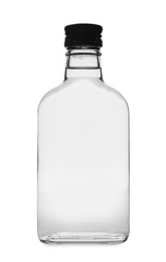 Bottle of alcoholic drink on white background