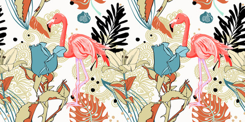 hand drawing seamless pattern with pink flamingo and tropical le