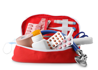 First aid kit on white background. Health care
