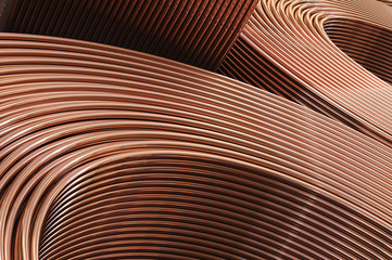 Copper сoil pipes close-up. 3D illustration