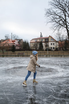 Woman skating on rink