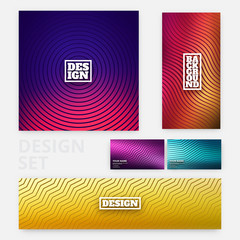 Colorful flyer template set - minimal cover designs - abstract geometric backgrounds with wavy lines