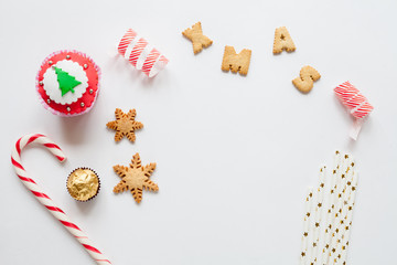 White christmas background with cookies