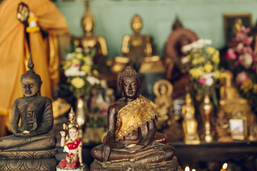 Group of Statue of Buddha in a Thai temple