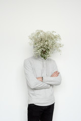 Man with blossoming head