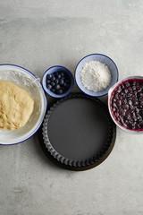 Blueberry pie prep.