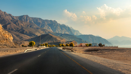 Khasab Coastal road in Musandam Governorate of Oman