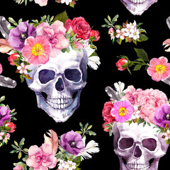 Human skulls, flowers for Dia de Muertos holiday, Day of Dead, Halloween. Seamless pattern on black background. Watercolor