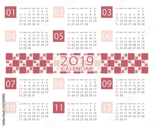 japanese pattern calendar template for 2019 year