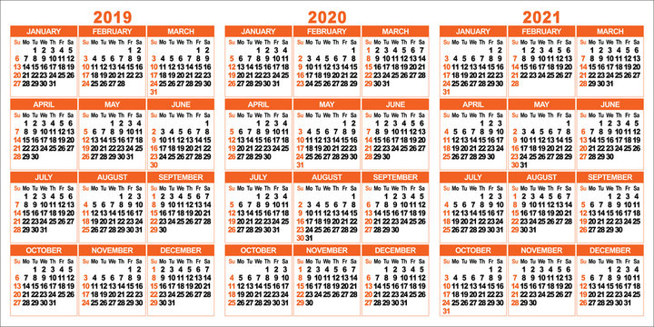 Calendar 2019; 2020; 2021 years. Two colors vector set. Week starts on Sunday.
