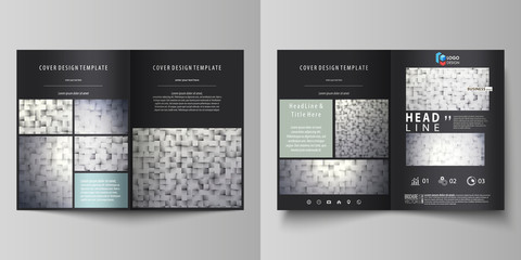 Business templates for bi fold brochure, magazine, flyer, booklet. Cover design template, abstract vector layout in A4 size. Pattern made from squares, gray background in geometrical style.