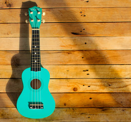 Photo shot of guitar, ukulele on wooden background. Music card, picture, poster.