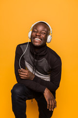 African american man smiling with headphones