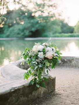 Ceremony place with flower arrangements