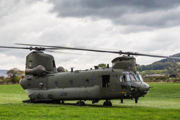 An Royal Air Force CH-47-HC.6A Chinook helicopter powers up to return to base after a bird strike during low level flying...Seen from the roadside near Bamford in the Peak District on 11 October 2018.