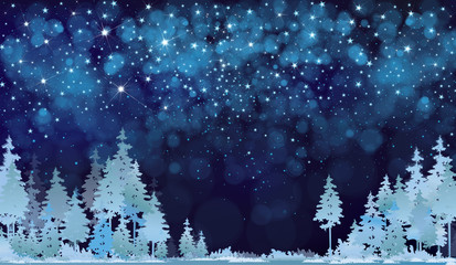 Vector winter night starry sky and  forest background.