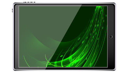 Black smart tablet smartphone with touchscreen, modern realistic mobile device with abstract magic energy splash, wallpaper isolated on white background.  illustration