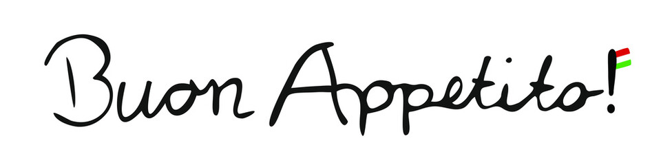 Buon Appetito Italian vector logo, handwriting