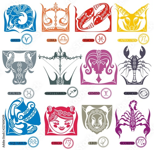 Zodiac signs (horoscope symbols)