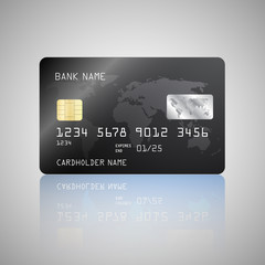Vector Realistic detailed credit card with the world map on black background