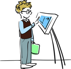 Boy choosing the way on touch screen vector