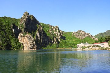 Mountains and Lake of clothing, North Korea (DPRK)