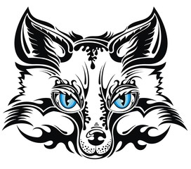 Animal vector fox. Tattoo design